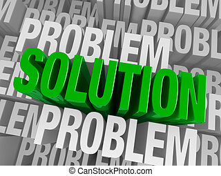 "A bold, green ""SOLUTION"" arises to stand above a background of consisting of the word ""PROBLEM"" repeated many times at different depths."