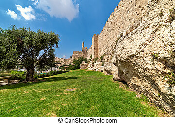 Surrounding wall and Tower of David in Jerusalem, Israel.