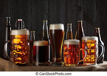 surtido, anteojos de cerveza