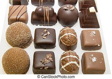 surtido, bandeja, chocolate