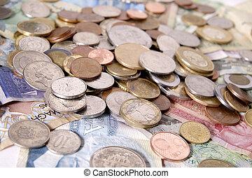 surtido, de, extranjero, dinero