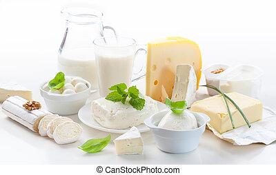 surtido, de, productos lácteos