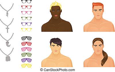 surtido, macho, accesorios, iconos