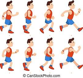survêtement, plat, mâle, course, garçon, athlétique, sequence., illustration, dessin animé, coureur, courant, vecteur, animations, cadres, jambes, animation, man.
