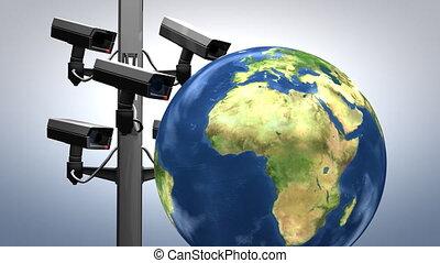 surveillance, animation., concept, internet
