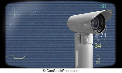 Digitally generated animation of surveillance camera while background shows heart rate graph