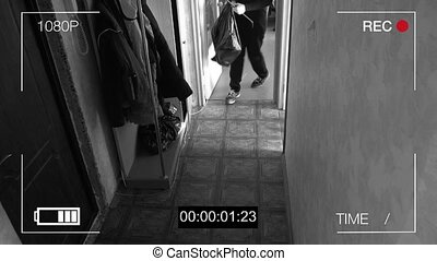 surveillance camera caught the robber in a mask running off with a bag of loot