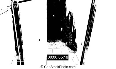 surveillance camera caught the robber in a mask running off...