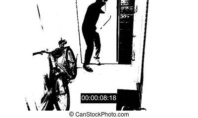 surveillance camera caught the thief broke the door and...