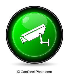 Surveillance camera icon. Internet button on white...