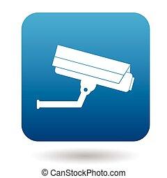 Surveillance camera icon, simple style