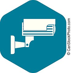 Surveillance camera icon, simple style