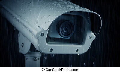 Surveillance Camera In Rainfall - Surveillance CCTV camera...