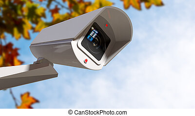 Surveillance Camera In The Daytime - A white wireless...