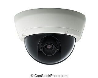 surveillance camera isolated on white background, studio ...
