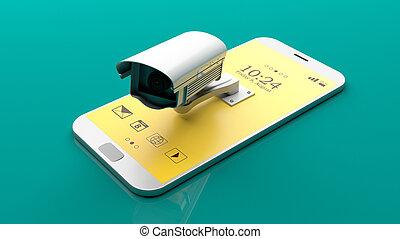 Surveillance camera on a smartphone. 3d illustration