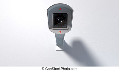 Surveillance Camera On White - A white wireless surveillance...