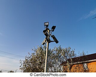 Surveillance camera. Protection of the territory. Data protect.
