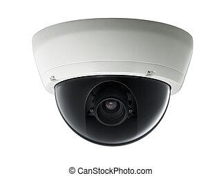 surveillance camera isolated on white background, studio...