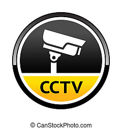 Surveillance camera, warning round symbol - Warning Sticker...