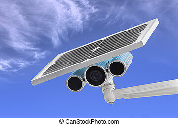 Surveillance Camera with Solar Power blue sky as background