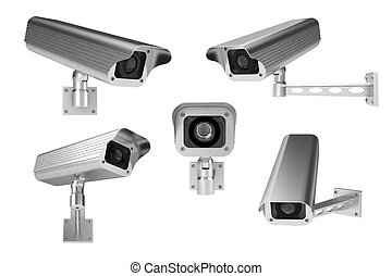 3d rendering of surveillance cameras on white background