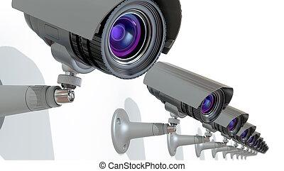 surveillance cameras, 3d