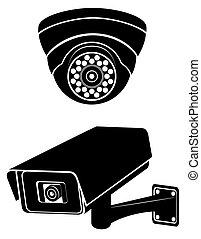 surveillance cameras black silhouette vector illustration