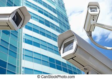 surveillance cameras - Security concept, selective focus on...