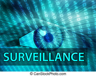 Surveillance illustration, eye over digital data information