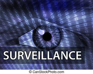 Surveillance illustration, eye over digital data information