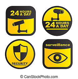 surveillance labels isolated over white background. vector