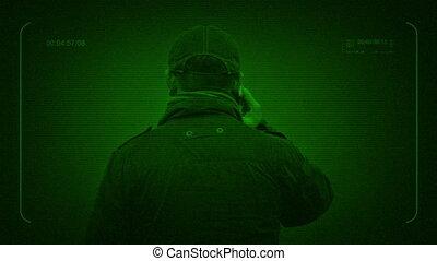 Surveillance Nightvision Man Talks On Phone