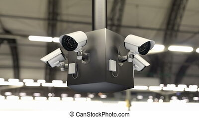 Surveillance system and security cameras scanning the public area, 3d animation