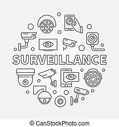 Surveillance vector illustration. Video security symbol -...