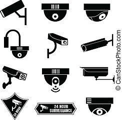 surveillance, vidéo, cctv, icône