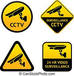 surveillance vidéo, ensemble, symboles