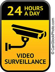 surveillance, vidéo, signe