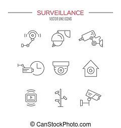 Surveillance - Video surveillance icons made in modern line...