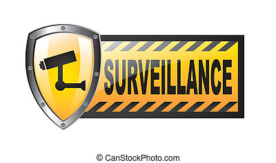 surveillance with protection shield isolated over white...