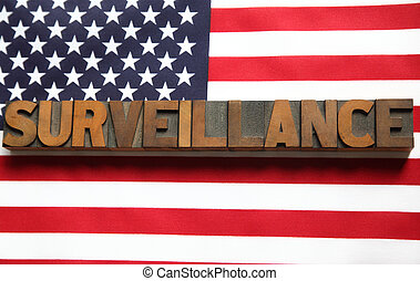 surveillance word on USA flag