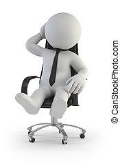 surveillant, gens, -, directeur, petit, chaise, 3d