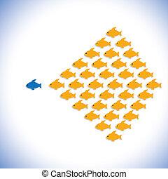 surveillant, ou, directeur confiant, aussi, disciples, business, bureau, vecteur, &, gras, graphic., boîte, entrepreneur, homme affaires, illustration, éditorial, employees-, concept, représenter, commencer