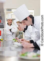 surveiller, classe, culinaire, confection, salades, prof