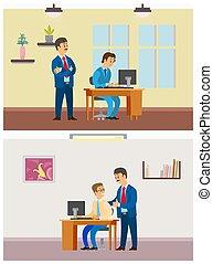 surveiller, employé bureau, ordinateur portable, métier, nouveau, patron
