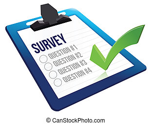 Survey and a list of questions illustration design over ...