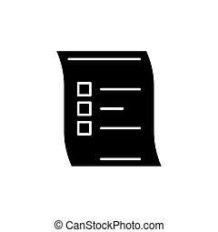 Survey black icon, vector sign on isolated background. Survey concept symbol, illustration
