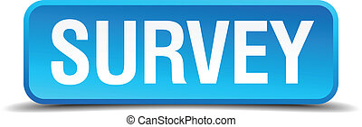 Survey blue 3d realistic square isolated button