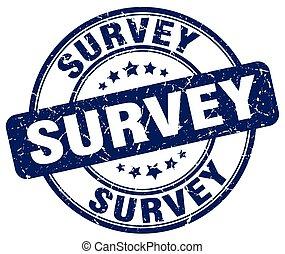 survey blue grunge round vintage rubber stamp