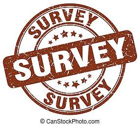 survey brown grunge round vintage rubber stamp